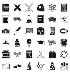 University icons set simple style vector