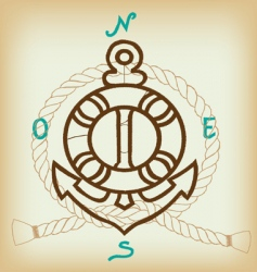 anchor and compass vector image