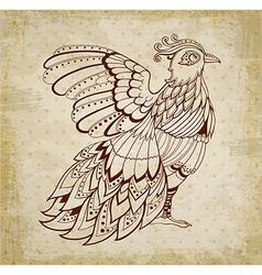 Decorative grunge ethnic background with bird vector image