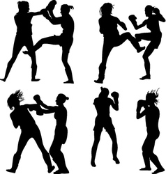 Kickboxing woman vector