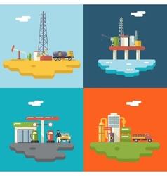 Retro Flat Oil Icons and Symbols Concept Set vector image