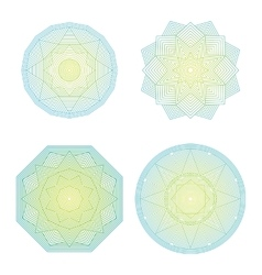 Color lineart geometric ornamental templates set vector