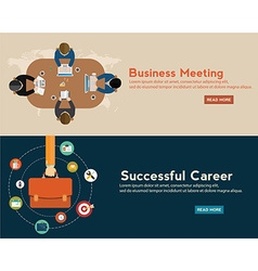 Flat designed banners for business meeting vector