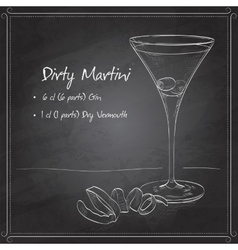 Cocktail dirty martini on black board vector