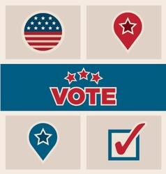 Political election design elements icons text set vector