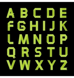 Paper green color alphabet vector