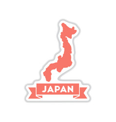 Paper sticker on white background japan map vector