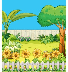 Scene with trees and flowers in backyard vector