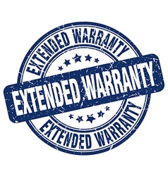 Extended warranty blue grunge round vintage rubber vector