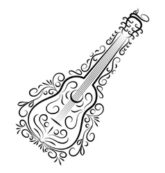 Doodle hand drawn guitar vector image