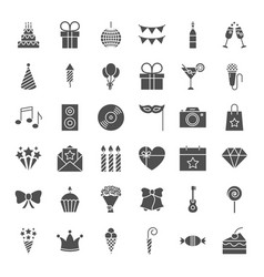 Birthday solid web icons vector