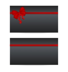 Black gift cards with red ribbons vector image vector image