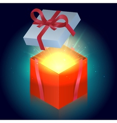 Bright red gift box with shining stars vector image