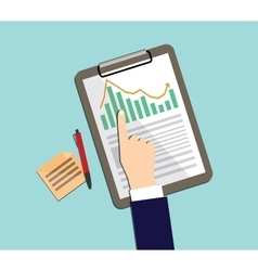 business report with graph clipboard ballpoint and vector image