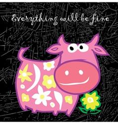 Cartoon pink cow vector image