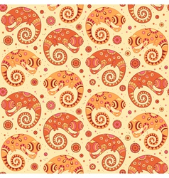 Chameleons decorative seamless pattern vector image
