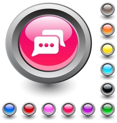 Chat round button vector image