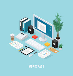 colored office workspace isometric composition vector image vector image