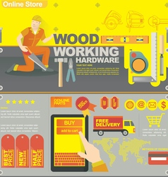Concept banner template for wood craf vector