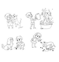 dog training funny cartoon character vector image vector image