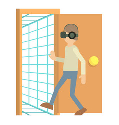 Door to the virtual space icon cartoon style vector