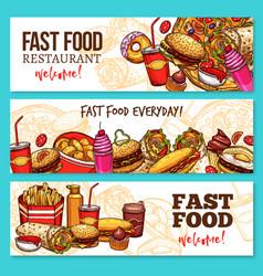 fast food restaurant sketch banner set design vector image