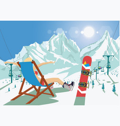Female snowboarder in bikini sitting in deck chair vector