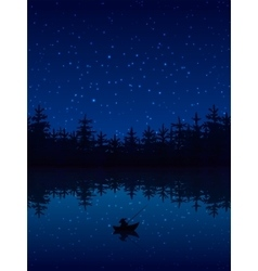 Fishing At Night vector image