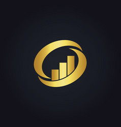 Gold business finance circle logo vector