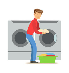 guy loading dirty laundry part of people using vector image vector image