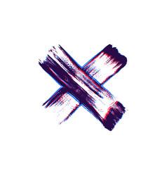 Hand drawn paint brush cross vector