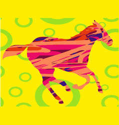 Horse abstract circles colorful vector