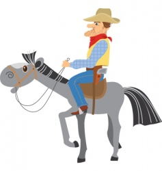 horse and cowboy vector image