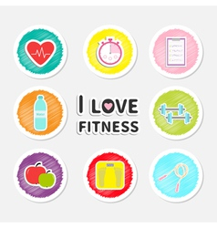 I love fitness round icon set isolated timer water vector