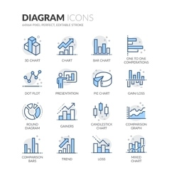 Line Diagram Icons vector image