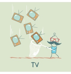 man catches a butterfly net TV vector image