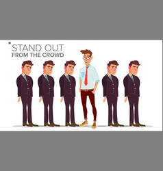Man stand out from the crowd business success vector
