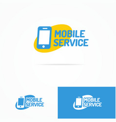 Mobile service logo set with silhouette phone vector