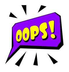 Oops sound effect icon cartoon style vector