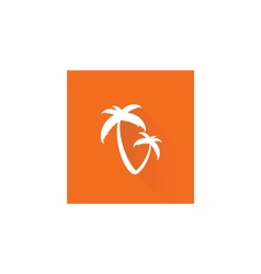 Palm tree on orange vector