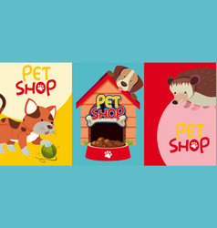 Pet shop signs with many pets vector
