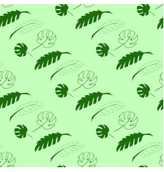 seamless pattern in green color with tropical vector image