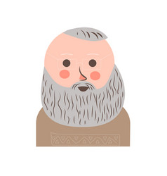 senior man with grey hair and beard portrait vector image vector image