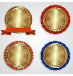 set of round golden badge labels with ribbons and vector image