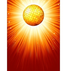 Sparkling orange red disco ball EPS 8 vector image vector image