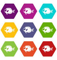 Surgeon fish icon set color hexahedron vector