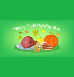 Thanksgiving food horizontal banner cartoon style vector