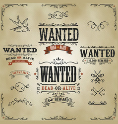Wanted vintage western banners vector