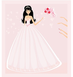Young bride throwing wedding bouquet to vector image vector image