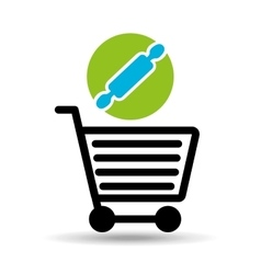 Shopping cart with rolling pin vector